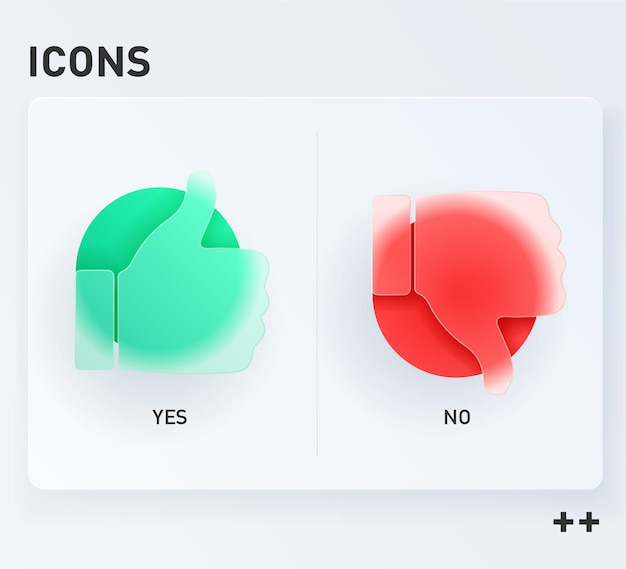 Humb up e thumb down assinar, ícones de gosto e não gosta. vetor no estilo do morfismo do vidro. Vetor Premium