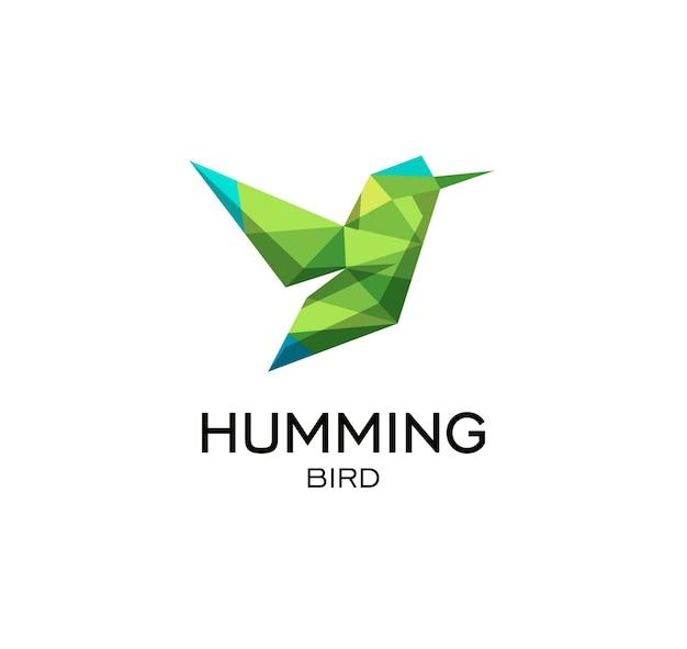 Hummig pássaro sinal geométrico calibri vetor poligonal abstrato logo modelo origami cor verde baixo