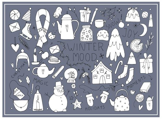 Humor de ano novo, natal, doodle, desenho de linha