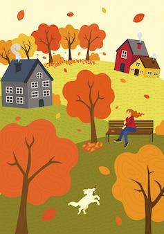 Humor de outono mão desenhada outono temporada natureza garota no banco do parque no vento e caminha colinas de gramado de cachorro e