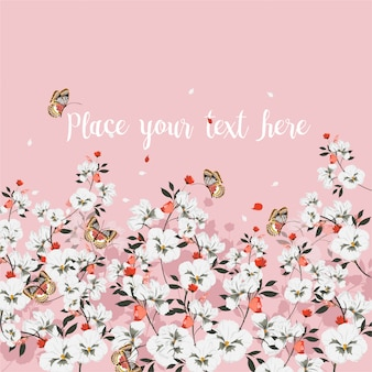 Humor doce do cartão com as flores de florescência com borboleta. lugar para o seu texto., flores silvestres, ilustração vetorial