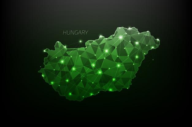 Hungria mapa poligonal com luzes brilhantes e linha