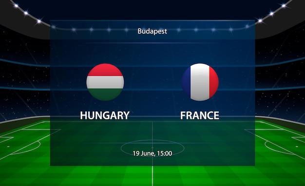 Hungria vs frança placar de futebol. Vetor Premium