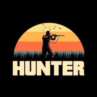Hunter retro graphic illustration