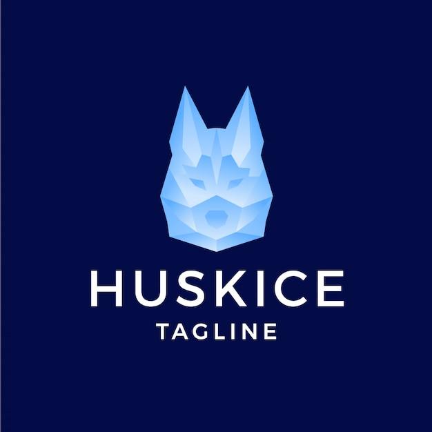 Husky com logotipo de efeito gradiente de polígono de gelo