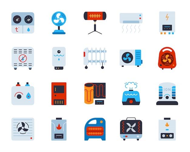 Hvac clima técnica temperatura controle equipamentos ar plano, aquecedor, conjunto de ícones de refrigeração.