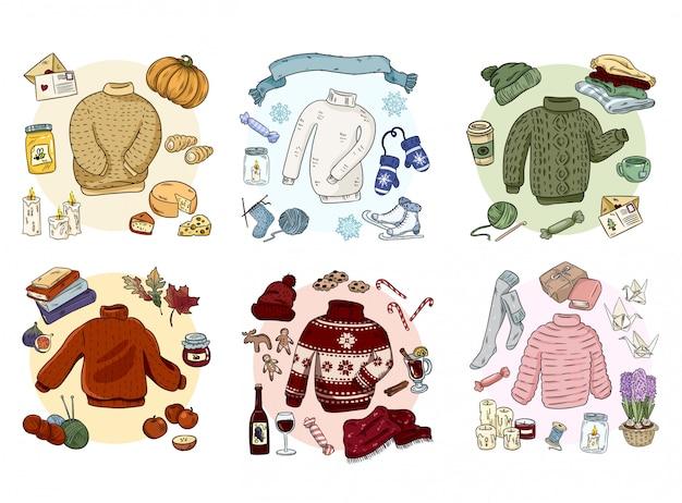 Hygge acolhedor doodles conjunto de coleta. adesivos bonitos