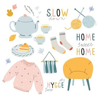 Hygge confortável doodle ilustrações com letras