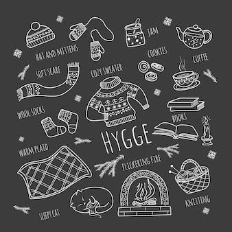 Hygge, um conjunto aconchegante e aconchegante de itens no estilo doodle.