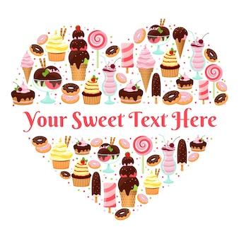 I love sweets desenho vetorial em forma de coração com copyspace para texto formado de sorvete colorido com cobertura e bolos gelados, doces e sobremesas em branco