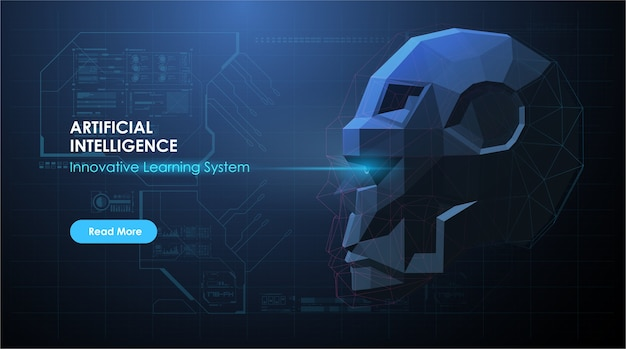 Ia com rosto de robô em estilo futurista abstrato