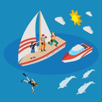 Iate com turistas, pessoa durante o mergulho, barco a motor, composição isométrica de golfinhos sobre fundo azul