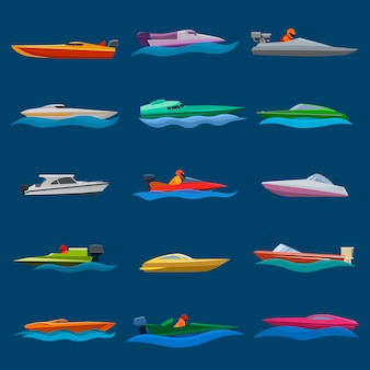 Iate de lancha barco vector velocidade viajando no conjunto náutico de ilustração de oceano