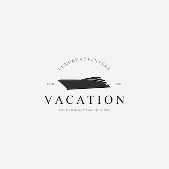 Iate luxo barco barco férias logo ilustração vetorial design vintage ico