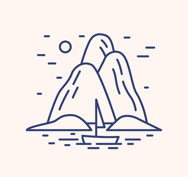 Iate na ilustração do vetor do contorno da paisagem do mar. seascape de verão linear azul isolado no fundo branco. ilha de rochas e barco à vela em sinais de arte de linha do oceano. símbolo de contorno do cenário marinho.