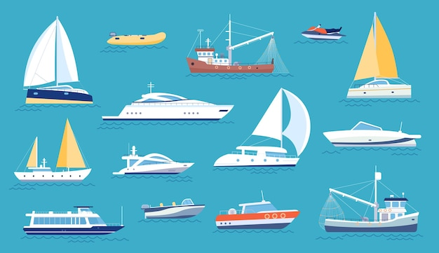 Iates e veleiros. transporte marítimo de pequeno porte, lancha e barco pesqueiro. barco de regata plana marinha, navio oceânico com vela ou motor, conjunto de vetores. transporte de luxo para relaxamento e veículo para pesca