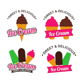 Ice cream logo design vector set