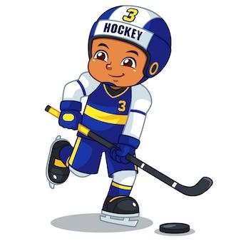 Ice hokey jogador menino pronto para atirar.