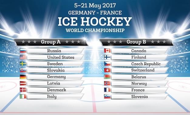Ice hokey world championship 2017. lista de países com holofotes.