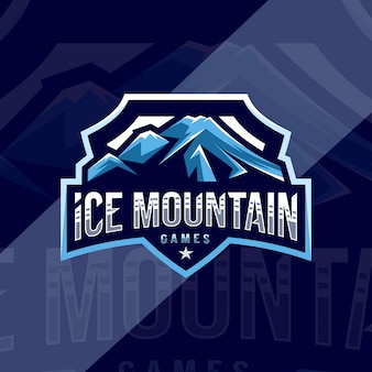 Ice mountain jogos mascote logotipo esporte design