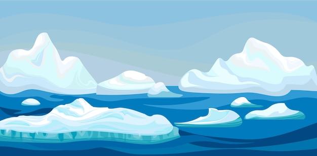Iceberg ártico dos desenhos animados com mar azul, paisagem de inverno.