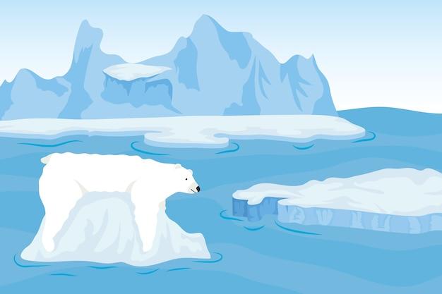 Iceberg bloqueia cena ártica com urso polar