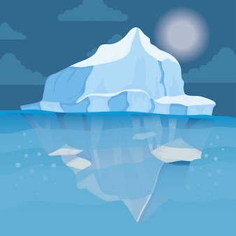Iceberg bloqueia paisagem noturna ártica