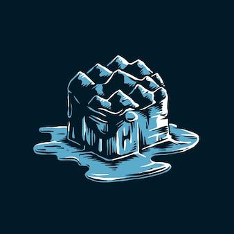 Iceberg de derretimento da ilustração do efeito de aquecimento global