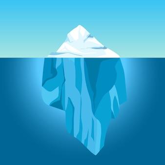 Iceberg dos desenhos animados na água. grande iceberg flutuando no oceano com parte subaquática. água clara com montanha de gelo, conceito de vetor de aquecimento global. mar do norte antártico com gelo e topo acima da água