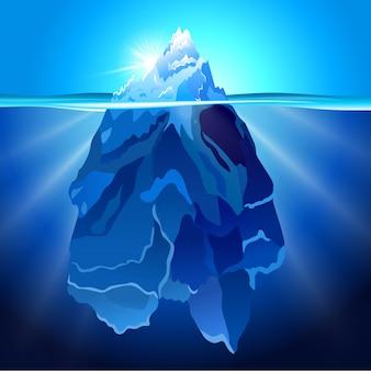Iceberg em fundo realista de água