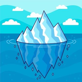 Iceberg ilustrado desenho desenhado à mão