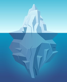 Iceberg no oceano. grande rocha branca de gelo na paisagem polar de água na natureza ao ar livre de estilo cartoon.