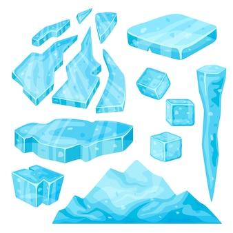 Iceberg, pingente de gelo, cubo de gelo e pedaços quebrados.