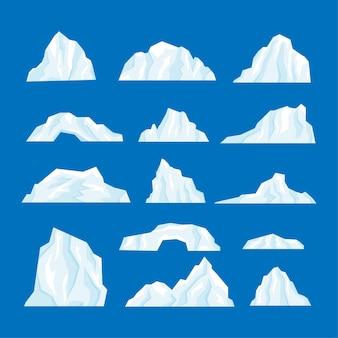 Icebergs definem ilustração isolada em um estilo simples de desenho animado.