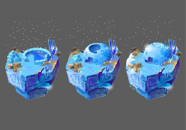 Icehouse azul, iglu, alojamento dos povos do norte, construindo dos blocos de gelo.