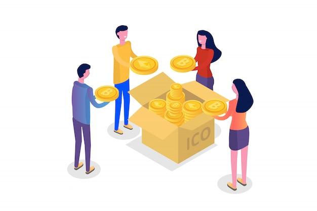 Ico conceito, oferta inicial de moedas. ilustração.