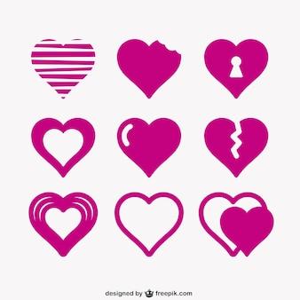 Icon corações pacote