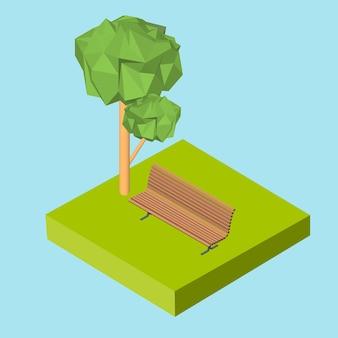 Ícone 3d isométrico. banco de pictogramas na grama e na árvore. ilustração em vetor eps 10.