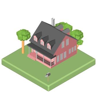 Ícone 3d isométrico. casa de pictogramas com caixa de correio e árvores. ilustração em vetor eps 10.