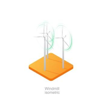Ícone 3d isométrico de moinho de vento