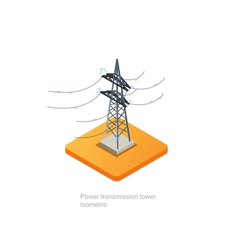 Ícone 3d isométrico de torre de transmissão de energia
