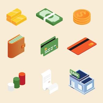 Ícone 3d isométrico financeiro e de negócios