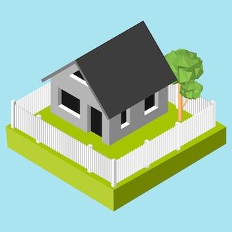 Ícone 3d isométrico. pictogramas casa com uma cerca branca e árvores. ilustração vetorial eps 10