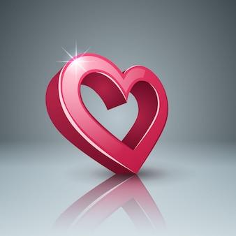 Ícone 3d realista. coração e amor.