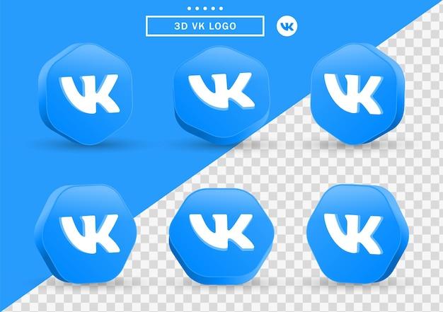 Ícone 3d vk em moldura de estilo moderno e polígono para logotipos de ícones de mídia social