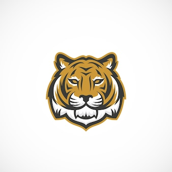 Ícone abstrato de cara de tigre mascote