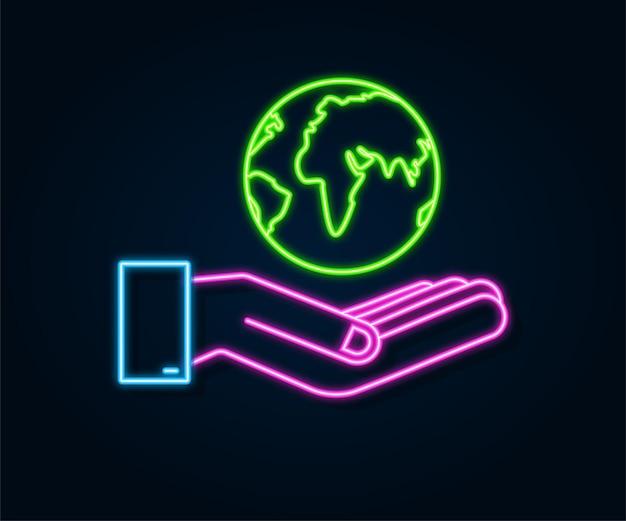 Ícone abstrato de néon com terra nas mãos. feliz dia da terra. sinal do planeta. desenhar a mão.