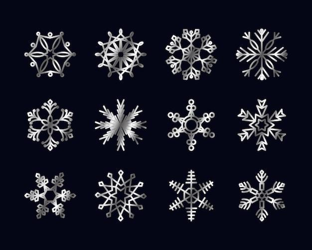 Ícone abstrato do floco de neve e flocos de neve definido sobre o preto