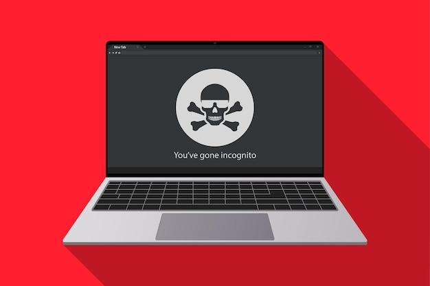 Ícone anônimo na tela do laptop