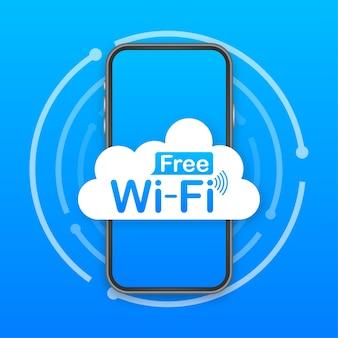 Ícone azul da zona wi-fi grátis. wifi grátis aqui conceito de sinal.